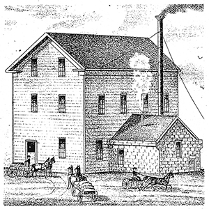 The original Atkinson's Carp Flour Mill, built in 1827, as depicted in the 1879 edition of the Belden Historical Atlas of Carleton County.
